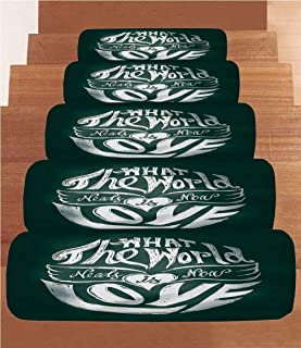 SoSung Hippie Coral Fleece Stair Treads,Stair Tread Mats,What The World Needs Now is Love Quote Lettering Art Circle Grunge Typography Decorative,(Set of 5) 8.6