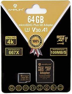 64GB Micro SD SDXC Memory Card Plus Adapter Pack (Class 10 U3 UHS-I V30 A1 MicroSD XC Extreme Pro) Amplim 64 GB Ultra High...