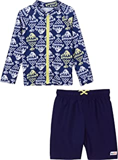 SwimZip Little Boy Zipper Long Sleeve Rash Guard Swimsuit Set Fish Bone Blue