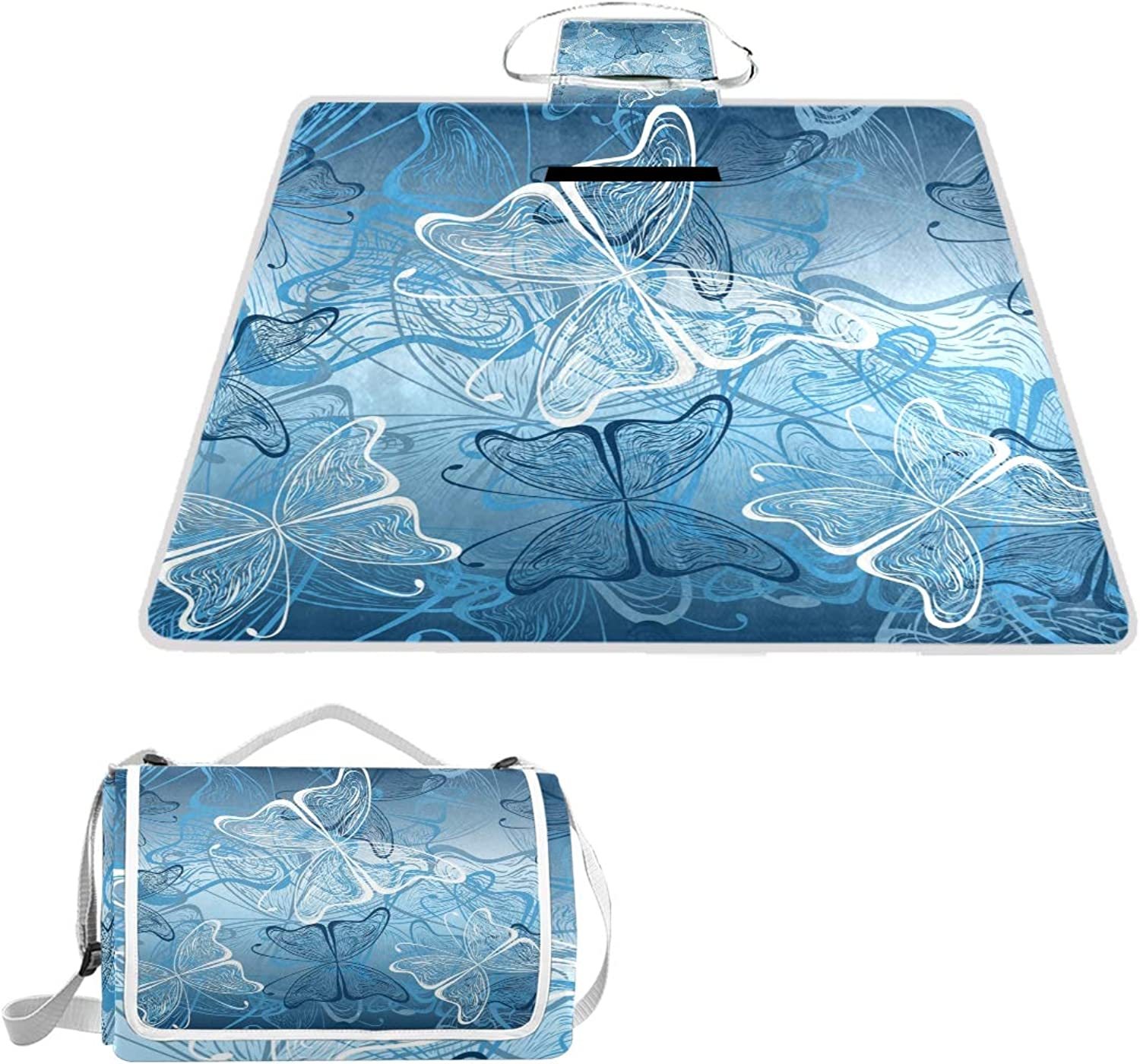 MASSIKOA Butterflies Picnic Blanket Waterproof Outdoor Blanket Foldable Picnic Handy Mat Tote for Beach Camping Hiking