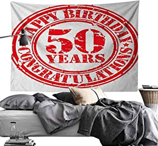 Maureen Austin Custom Wall Tapestry 50th Birthday,Grungy Display with Aged Rubber Stamp for Fifty Years Old Congratulation, Vermilion White,for Dorm Room,Bedroom,Living Room Decorations 70