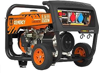 Generador de corriente de gasolina de 4 tiempos, 3 fases, línea profesional, 8,8 kVA 7000 W/400 V, 8,1 kVA 6500 W/230 V, manual + arranque electrónico