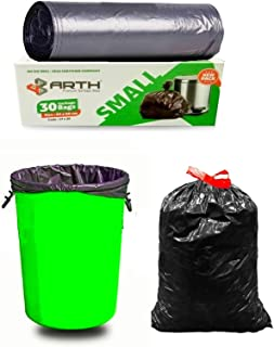 Sjeware Arth Garbage Bags Size Small (17 X19 in) (43 X 50 cm) 30 Bags Packs of 1 Black Biodegradable for Kitchen,Office Du...