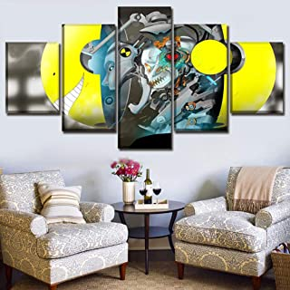SFXYJ Wall Art Framework Home Decor 5 Panel Anime Assassination Classroom Koro-Sensei Poster Picture for Living Room Canvas Prints Paintings,B,40×60×2+40×80x2+40×100×1