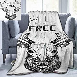 Elxmzwlob Christmas Blankets,Lightweight Throw Blankets,Adventure,Artistic Deer Head Tribal Sketch with Antlers Inspirational Wild and Free Phrase,Black White-All Season Use(91