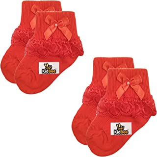 Kidbee Babies Soft Cotton Socks Frill For Baby,Set of 2