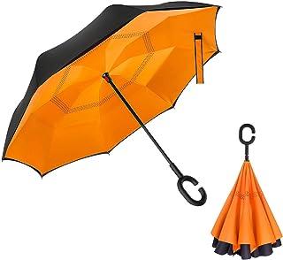 Amersen 逆転傘 逆さ傘 逆折り式傘 自立傘 長傘 手離れC型手元 耐風 撥水加工 晴雨兼用 ビジネス用 車用 UVカット遮光遮熱 傘ケース付属 2年品質保証 (オレンジの色)