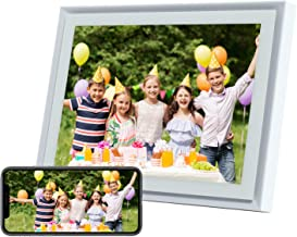 AEEZO WiFi Digital Picture Frame 10 Inch IPS Touch Screen FHD 2K Display Smart Cloud Photo Frame with 16GB Storage, Easy Setup to Share Photos & Videos, Auto-Rotate Frame (White)