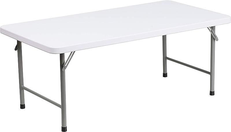 Flash Furniture 24 W X 48 L X 19 H Kid S Granite White Plastic Folding Table