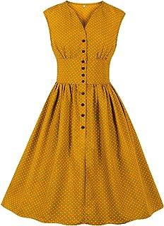 Wellwits - Vestito da tè da donna, con scollo a V e bottoni, vintage, in stile anni '40-50