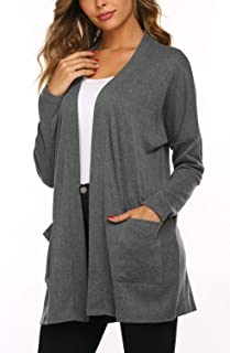 Women's Casual Lightweight Open Front Batwing Long Sleeve Cardigans with Pockets(S-XXL)