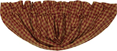 VHC Brands Burgundy Check Balloon Valance Window Country Kitchen Lined in Cotton Curtain, 15x60, Red