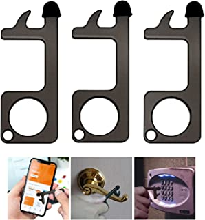 HUFEEOH Multi Tools No Touch Keychain Multiple Opener, Black Hand EDC Door Opener Tools for Infected Surfaces, Touchscreens, Handles, Buttons and more… (3-pack)