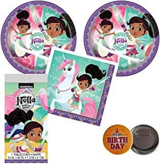RazzleDazzleCelebrations Nella The Princess Knight Birthday Party Supplies for 16 Guests - Large Plates, Napkins, tablecover