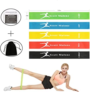 Scotamalone Resistance Loop Exercise Bands with Instruction Guide, Carry Bag, Set of 5