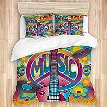 HKIDOYH Duvet Cover Set,Peace Love Symbol Guitar Dove Woodstock Music and Art Fair,Comforter Set Ultra Soft Microfiber Flo...