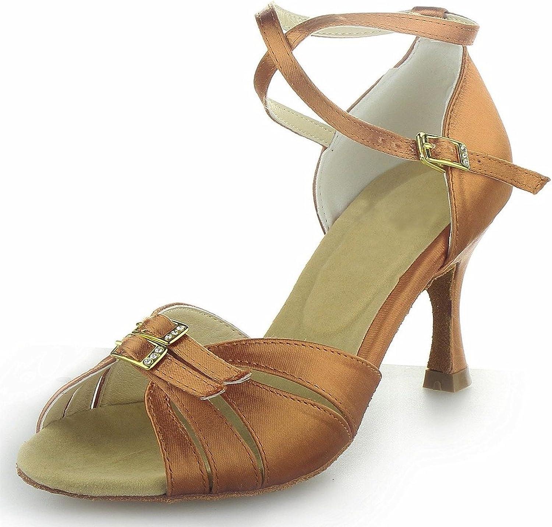 Monie Women's Bling Buckle Salsa Ballroom Latin Tango Dance shoes 3 Inch Flare Heel Brown