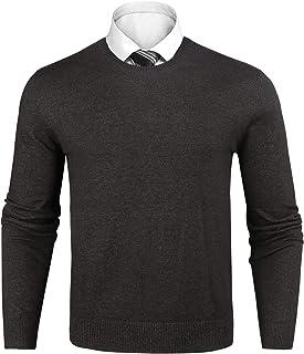 Sykooria Mens Knit Jumper Long Sleeve Woolen Sweater Crew Neck Basic Casual Pullover Soft Lightweight Set-in Classic Knitwear