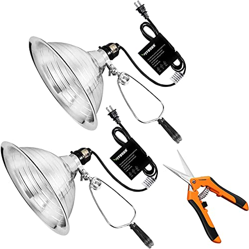 wholesale VIVOSUN Clamp Lamp Light 2 2021 Pack and 6.5 Inch high quality Gardening Hand Pruner sale