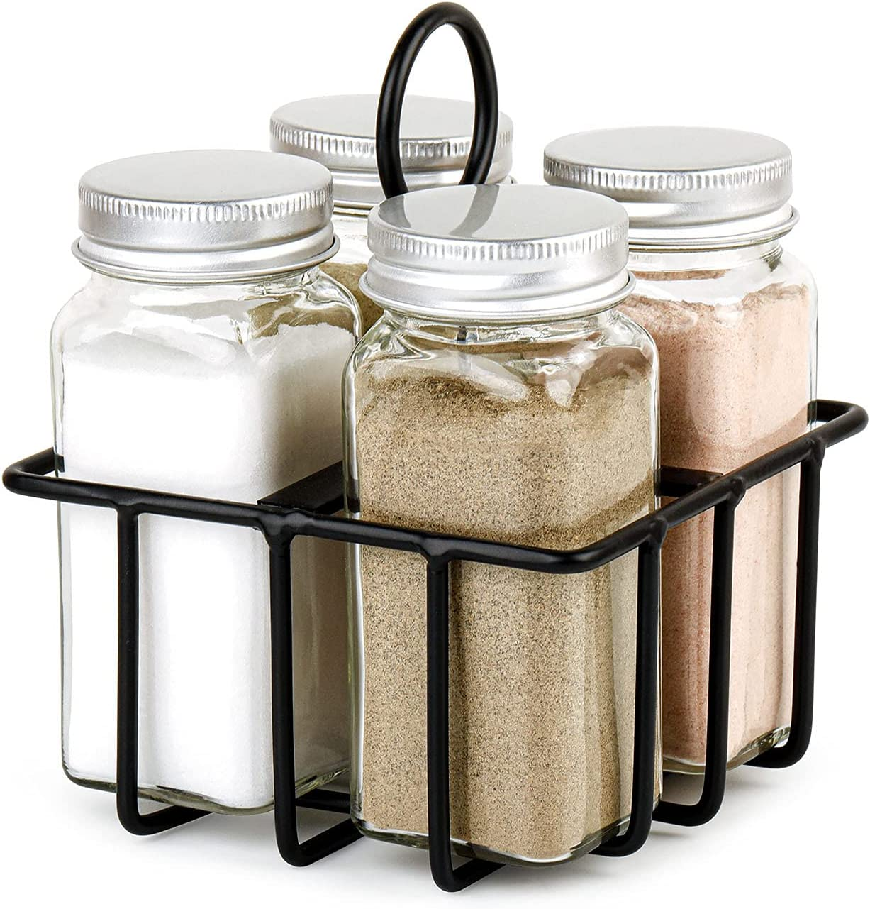 UEJUNBO Salt and Pepper Shaker With Metal Caddy 4 Compartments Set,Farmhouse Decor,Shakers Moisture Proof Design,Easy to Clean and Refill,Suitable for home kitchen dining table Restaurants Gift