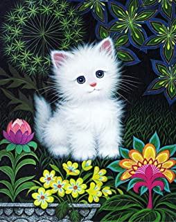 New 5D Diamond Painting Kits for Adults Kids, Awesocrafts Cute White Cat Flowers, Kitten Partial Drill DIY Diamond Art Embroidery Paint by Numbers with Diamonds (Kitten)