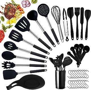JOYBOY Ustensiles de Cuisine,37 Pièces Kit Ustensiles de Cuisine en Acier Inoxydable,Ustensiles de Cuisine en Silicone Ant...