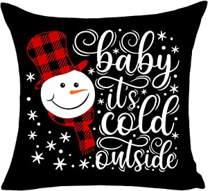 MFGNEH Christmas Pillow Covers 18x18 Inch Baby It's Cold Outside Winter Buffalo Checkers Plaid Snowman Christmas Decorations Cotton Linen Throw Pillow Case Cushion Cover,Christmas Decor