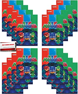 16 Pack PJ Masks Party Plastic Loot Treat Candy Favor Bags (Plus Party Planning Checklist by Mikes Super Store)