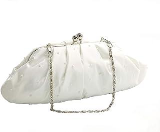 EMMERLING 50022 Clutch Abendtasche weiß mit Perlen und Rocailles