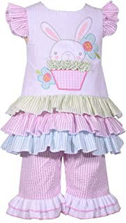 Girl's Easter Outfit Bunny Seersucker Top and Leggings Set for Baby and Toddler