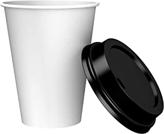 Amazon Brand – Solimo 12oz Paper Hot Cup with Lid, 150 Count
