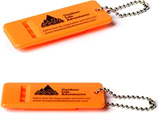 Outdoor Life Adventures Emergency Survival Whistle with Small Chain for Camping, Hiking, Boating, and Kayaking ABS Plastic Super Loud Whistles Design for Rescue Signaling – 2 Pack