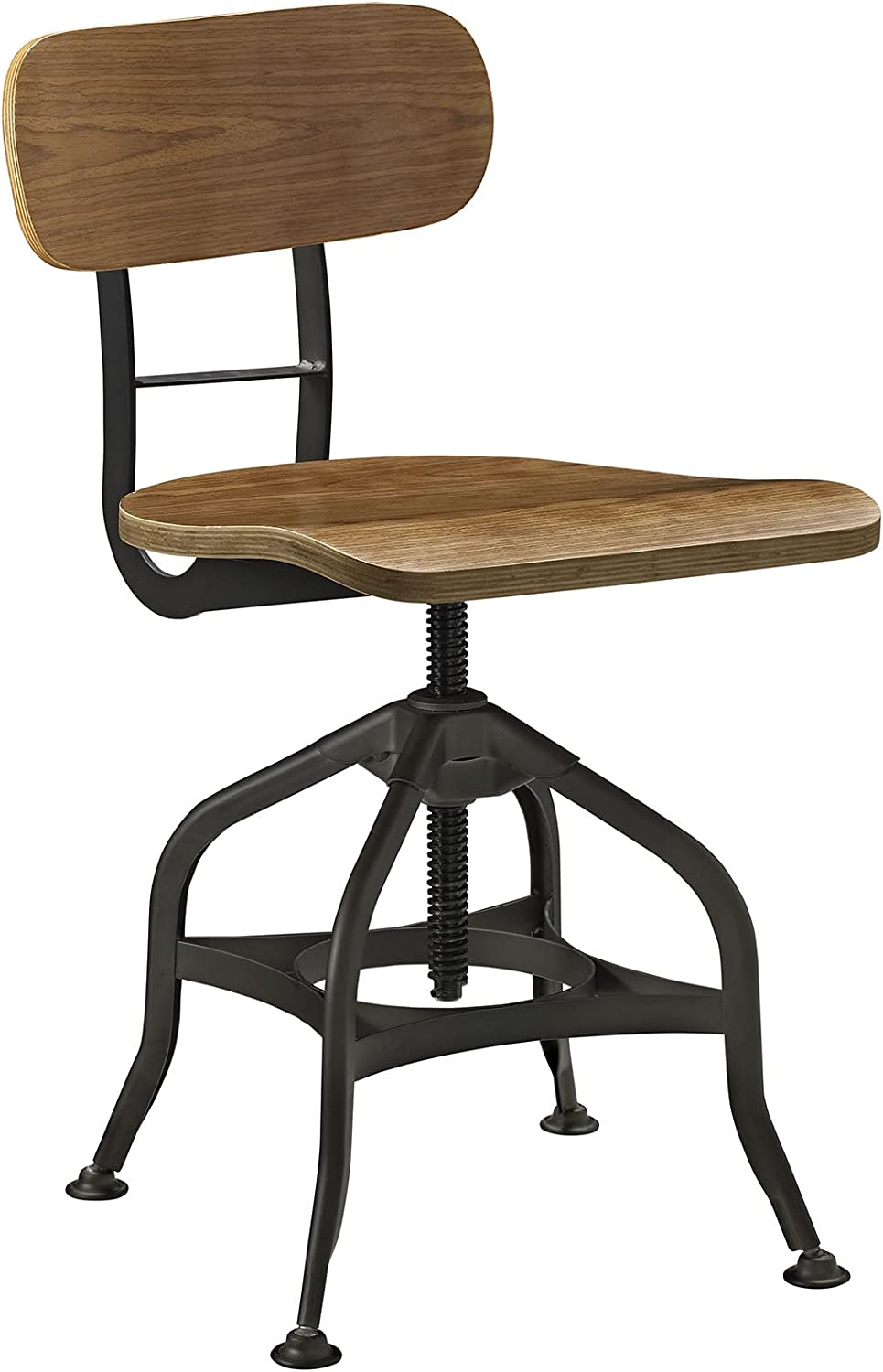 Modway Mark Wood Bar Stool in Brown