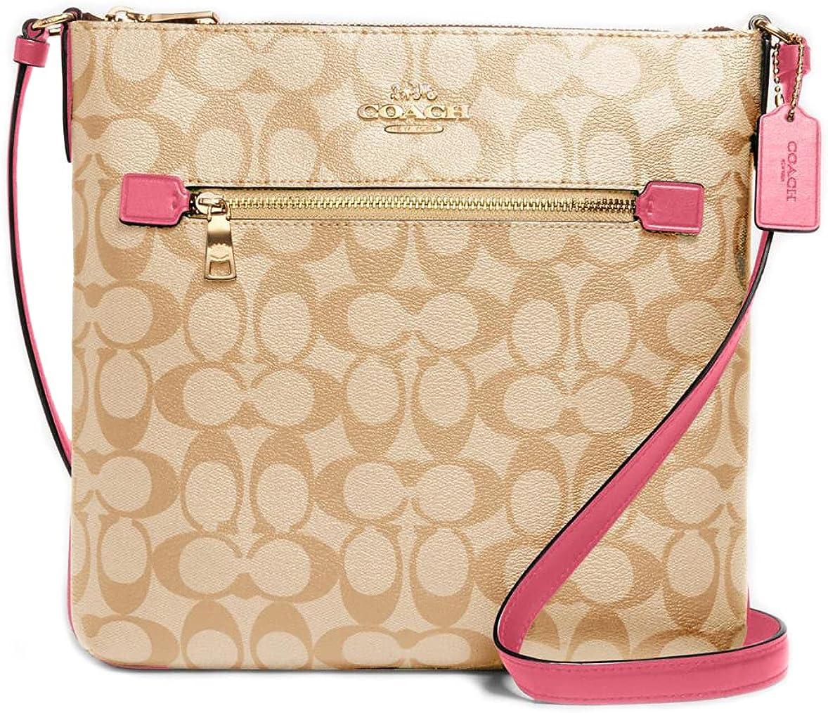 Coach Rowan File Bag In Signature Canvas C1554 Im/Light Khaki/Confetti Pink