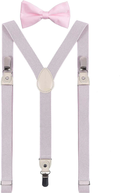 DEOBOX Men's Suspenders and Bow Tie Set for Wedding Clips 55