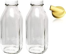 The Dairy Shoppe 1 Qt Glass Milk Bottle Vintage Style with Cap & NEW Pour Spout! (2 Pack)