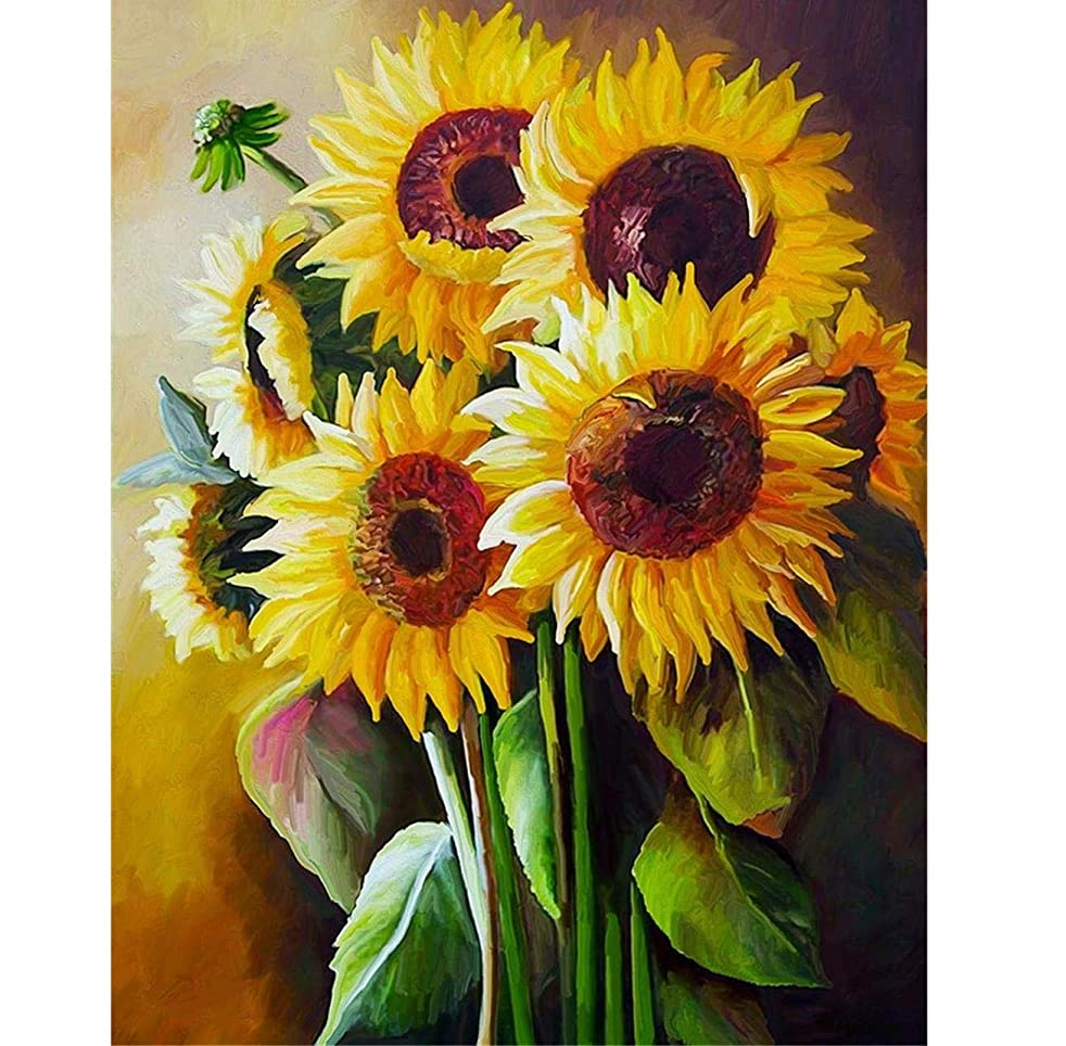 Paint by Numbers Kits DIY Oil Painting by Numbers Sunflowers DIY Canvas Painting by Numbers Acrylic Painting Kits for Adults Kids Beginners Arts Craft for Home Wall Decoration (Sunflowers)