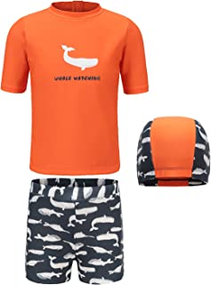 Boys Short Sleeve Rash Gurad Shirt Set Swimsuit For Kids Sunsuit