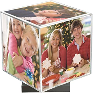 Clear Spinning Photo Cube with Silver Base, Holds Five 3.5