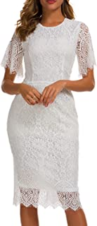 Women's Elegant Round Neck Floral Short Sleeve Lace Cocktail Party Dress