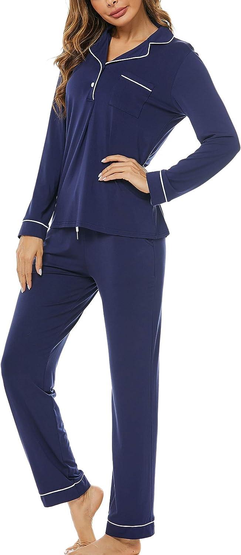 Haiiploo Women's Pajamas Set Long Sleeve Sleepwear Button Down Nightwear Soft Pj Lounge Sets (S-XXL)