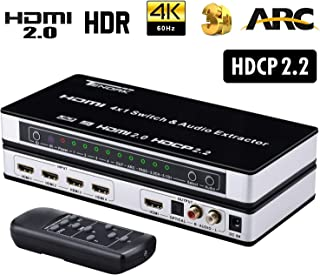 HDMI 2.0 Switch 4x1, Tendak HDMI Switcher with Audio Extractor + Optical Toslink & L/R Audio Out Support ARC 3D EDID 4K@60...