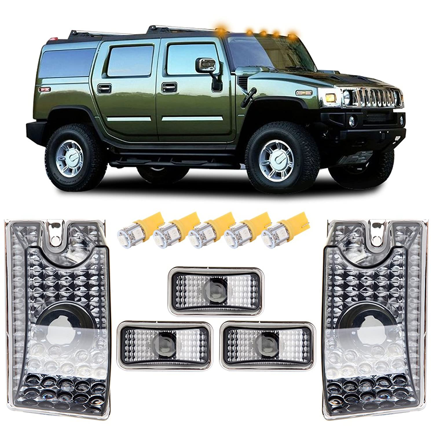 cciyu 5pcs Amber Cab Marker Light Top Roof Marker Light Replacement fit for 2003-2009 Hummer H2