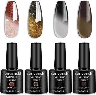 Senvenski Color Changing Gel Nail Polish Red Black White Grey Brown Gold Glitter Starrily Sparkle Set Mood Chameleon Soak ...