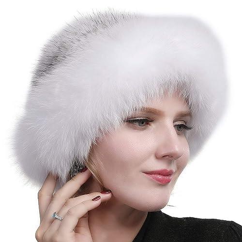5b240ef301e Valpeak Womens Winter Hat Knitted Mink Real Fur Hats Fox Brim
