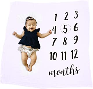 Kohai Baby Monthly Milestone Blanket Photo Prop Set for Boys & Girls, 100% Organic Hypoallergenic Muslin Cotton, Large 47x47, Includes Wreath