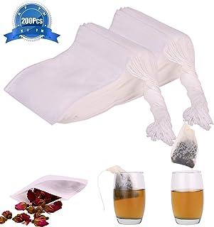 "KFYM 200pcs Tea Filter Bags, Disposable Tea Infuser, Safe & Natural Material,Disposable Drawstring Seal Filter Tea Bags,1- Cup Capacity- 3.15""x 3.94"""