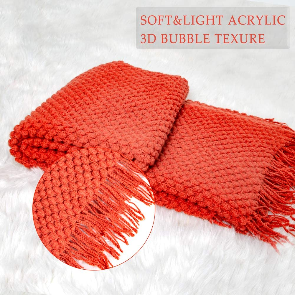 Rust Sofier Knitted Throw Blankets with Tassels and 3D Bubble Pattern 50x 60 Lightweight and Washable Acrylic Soft Texture Decorative Throw Blankets for Couch Bed Living Room Office Travel