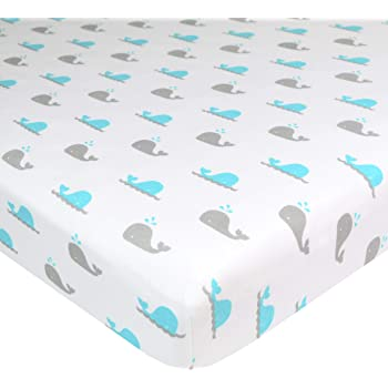 American Baby Company Printed 100% Natural Cotton Value Jersey Knit Fitted Bassinet Sheet, Aqua Whale, Soft Breathable, for Boys and Girls
