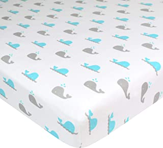 TL Care 100% Natural Cotton Value Jersey Knit Fitted Portable/Mini-Crib Sheet, Aqua Whale, Soft Breathable, for Boys & Girls